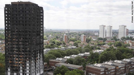 The ruined Grenfell Tower, seen Friday in London, was destroyed by fire last week.