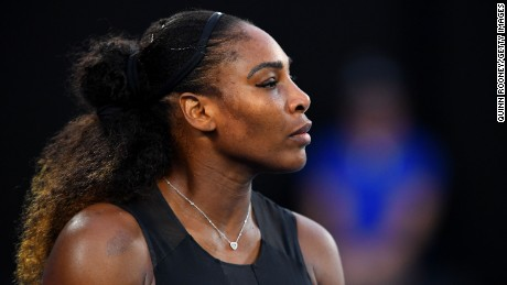 Serena Williams of the United States looks on in her Women's Singles Final match against Venus Williams of the United States on day 13 of the 2017 Australian Open at Melbourne Park on January 28, 2017 in Melbourne, Australia.