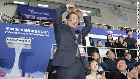 Choi Moon-soon, governor of South Korea's Gangwon province, attends a ceremony ahead of the Pyeongchang 2018 Winter Olympic games.