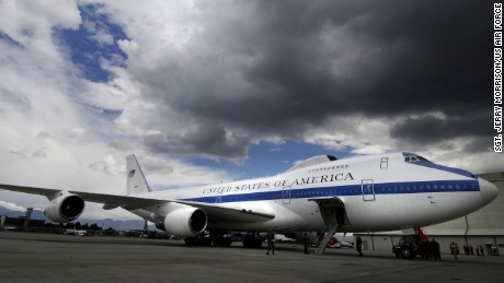 An Air Force E-4B National Airborne Operations Center aircraft sits at the international airport in Bogota,Colombia Oct. 3, waiting for Secretary of Defense Robert M. Gates.  U.S. Air Force photo/Tech. Sgt. Jerry Morrison)