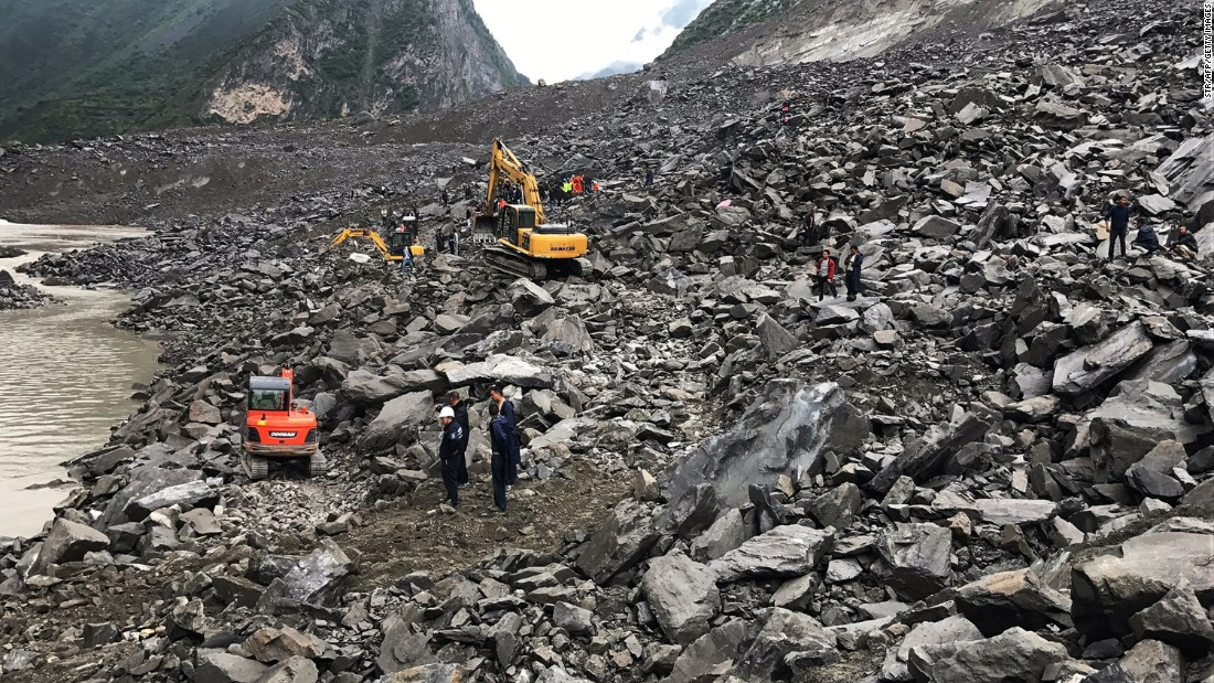 Much of village of Xinmo was covered by the landslide on June 24.