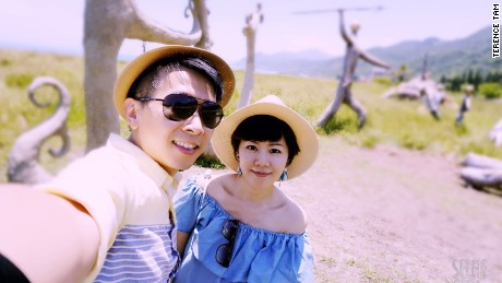 Terence Tam and his wife on vacation in Hualien, eastern Taiwan.