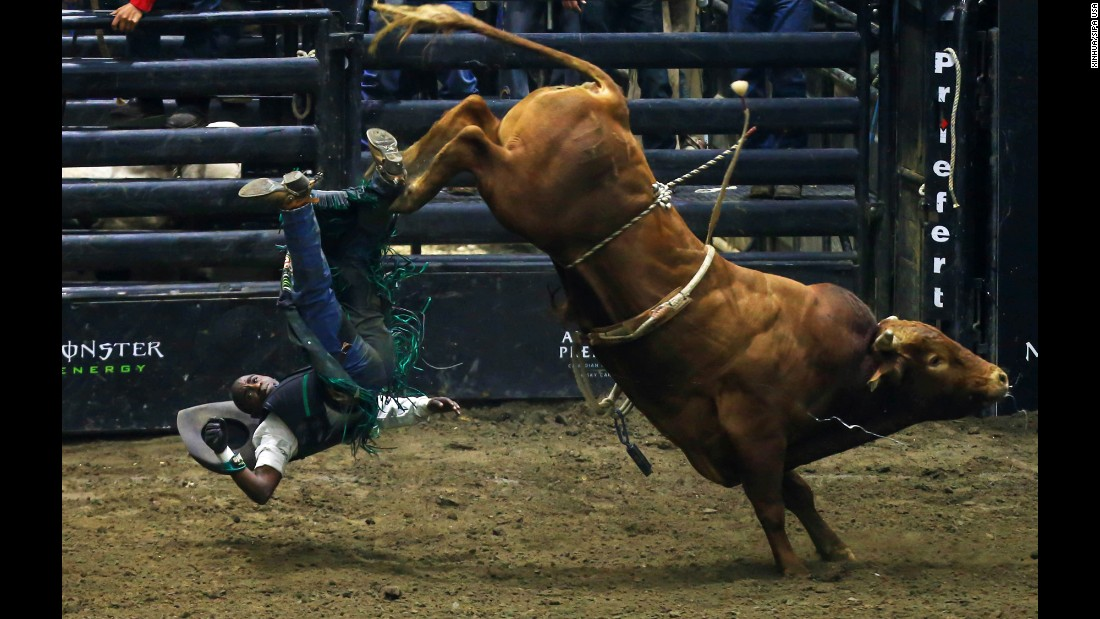 Juliano Antonio Da Silva falls during a Professional Bull Riders event in Toronto on Saturday, June 24.