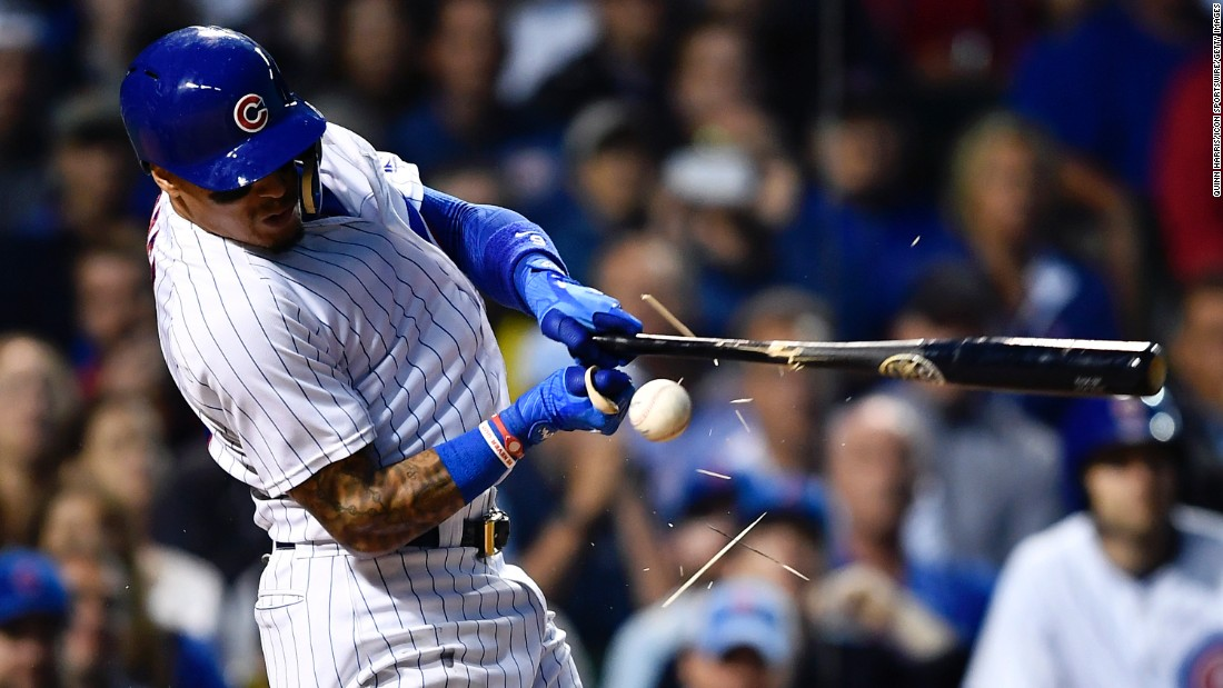 The bat shatters in Javier Baez's hand during a Major League game in Chicago on Tuesday, June 20.