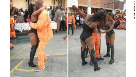 The pictures purportedly show strippers dancing with inmates at the Johannesburg Medium B Correctional Centre. The pictures were posted online and prompted prison officials to launch an investigation.CNN obscured the faces of the subjects because their identities could not be confirmed.