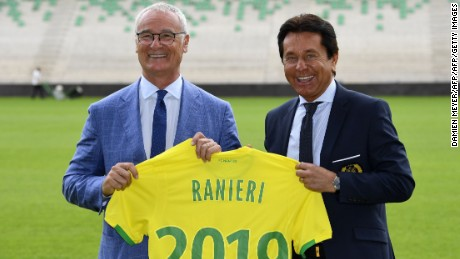 Nantes football club's newly-recruited Italian coach Claudio (L)anieri (L) poses with the club's owner Waldemar Kita during his official presentation at the Beaujoire stadium in Nantes on June 26, 2017. / AFP PHOTO / DAMIEN MEYER        (Photo credit should read DAMIEN MEYER/AFP/Getty Images)