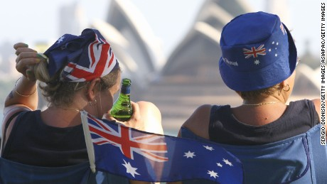 Two women enjoy a view of Sydney's Opera house as part of celebrations for Australia Day on January 26, 2011.
