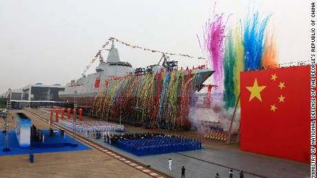 Huge new Chinese warship launches