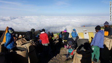The group sleep above the clouds on Mount Kilimanjaro.