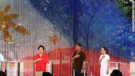 Philippines President Rodrigo Duterte (center) before the start of the presidential debate before his election in April 2016.