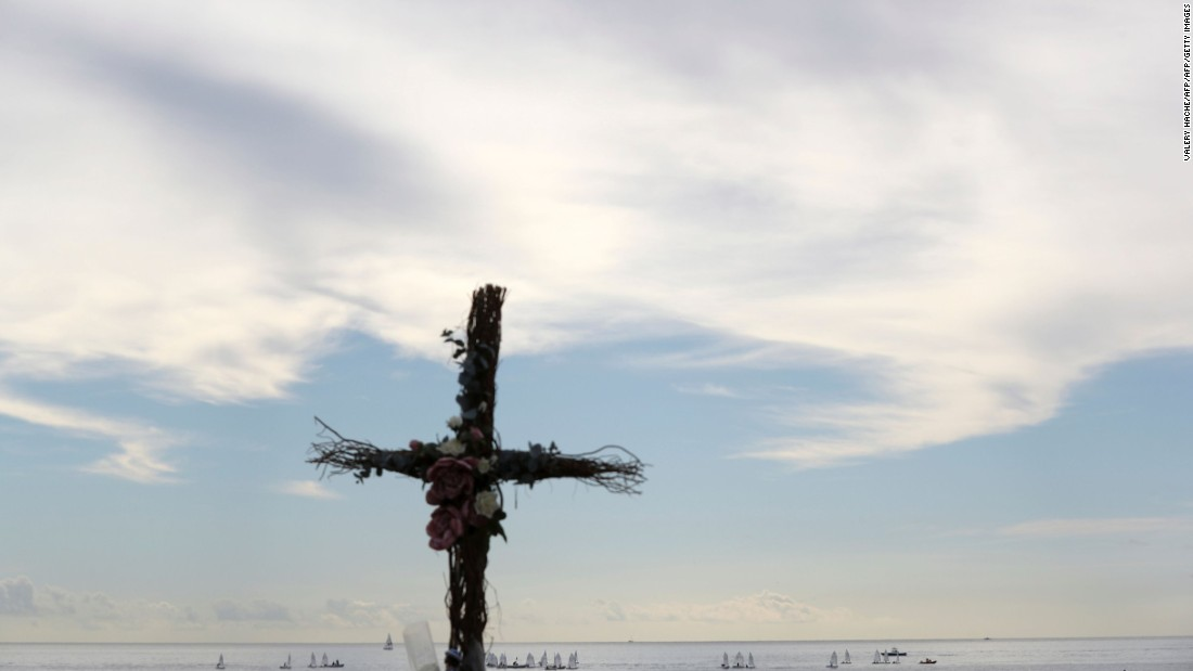 A makeshift cross placed in memory of victims at the Promenades des Anglais.