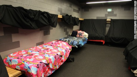 The players' accommodations for their 11-day hockey game at the HarborCenter in Buffalo, New York.