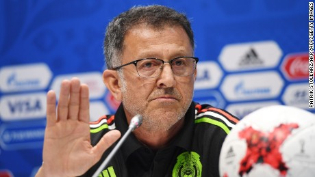 Mexico's Colombian coach Juan Carlos Osorio gives a press conference in Sochi on June 28, 2017 on the eve of the Russia 2017 FIFA Confederations Cup football semi-final match Germany vs Mexico. / AFP PHOTO / PATRIK STOLLARZ        (Photo credit should read PATRIK STOLLARZ/AFP/Getty Images)