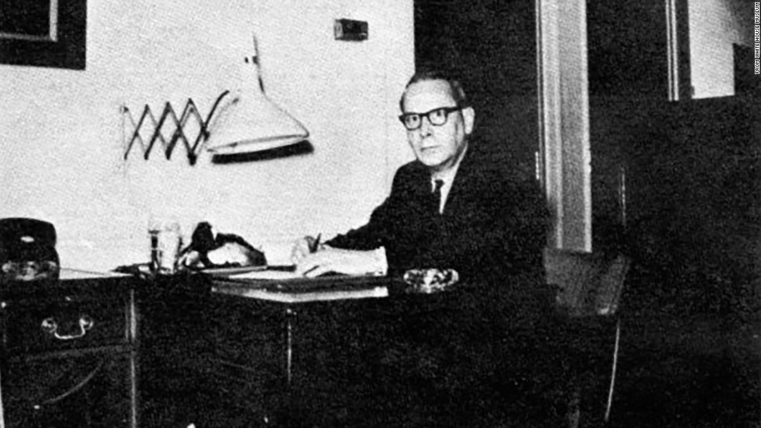 Chief Usher J.B. West at his desk, circa 1964.
