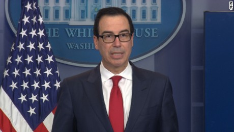 United States Secretary of the Treasury Steven Mnuchin speaks at a White House press briefing.