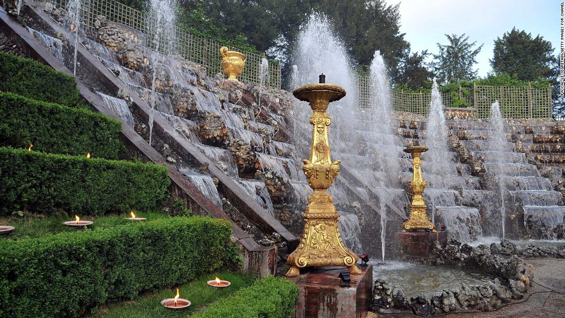 A fountain and waterfall feature was part of the backdrop for the Chanel 2012/13 Cruise Collection show at Versailles.