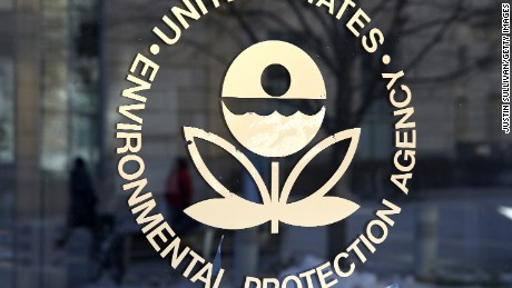WASHINGTON, DC - MARCH 16:  The U.S. Environmental Protection Agency's (EPA) logo is displayed on a door at its headquarters on March 16, 2017 in Washington, DC. U.S. President Donald Trump's proposed budget for 2018 seeks to cut the EPA's budget by 31 percent from $8.1 billion to $5.7 billion.  (Photo by Justin Sullivan/Getty Images)