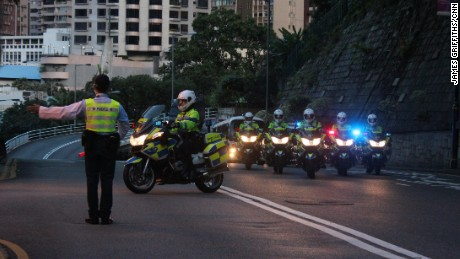 Chinese President Xi Jinping's motorcade arrives at Government House in Hong Kong's Central district on June 29.