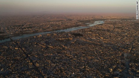 The Tigris river separates the east, top, and west side of Mosul.