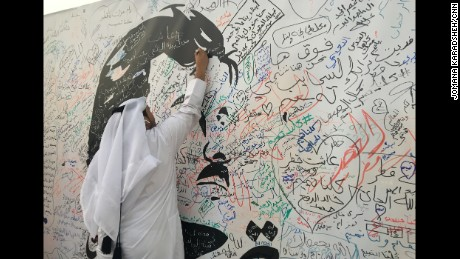 A man writes a message of support to the Emir amid the growing crisis between the Gulf kingdom and its neighbors.