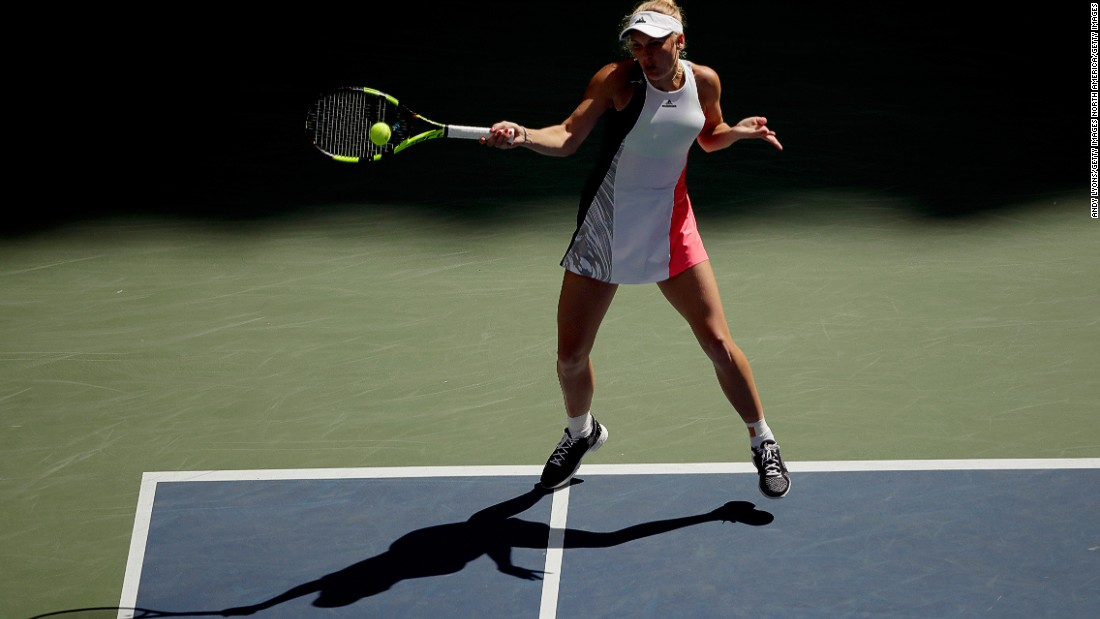 "Wozniacki, seen here at the 2016 US Open in New York, has been a long-time wearer of McCartney's tennis dresses.<br />""I have a very deep connection with Caroline -- we've worked together for so long,"" McCartney said."
