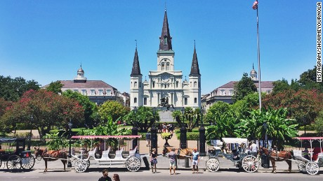 St. Louis Cathedral seen on a sunny day in Jackson Square.