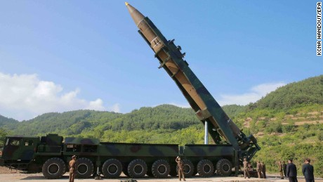 North Korea's Hwasong-14 missile in a photo handed out by North Korean state media.