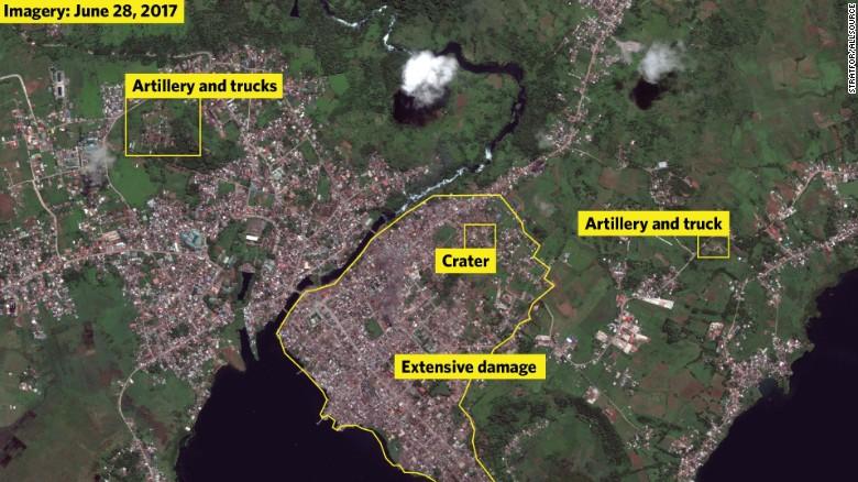 Satellite Imagery Shows Devastation Of ISISheld Marawi In - Satellite map