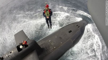 Emmanuel Macron visits the submarine Le Terrible off the Brittany coast.