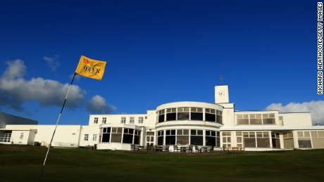 SOUTHPORT, ENGLAND - APRIL 24:  The famous yellow 18th green pin flag of The Open Championship at Royal Birkdale Golf Club, the host course for the 2017 Open Championship during a Media day for the 146th Open Championship on April 24, 2017 in Southport, England.  (Photo by Richard Heathcote/Getty Images)