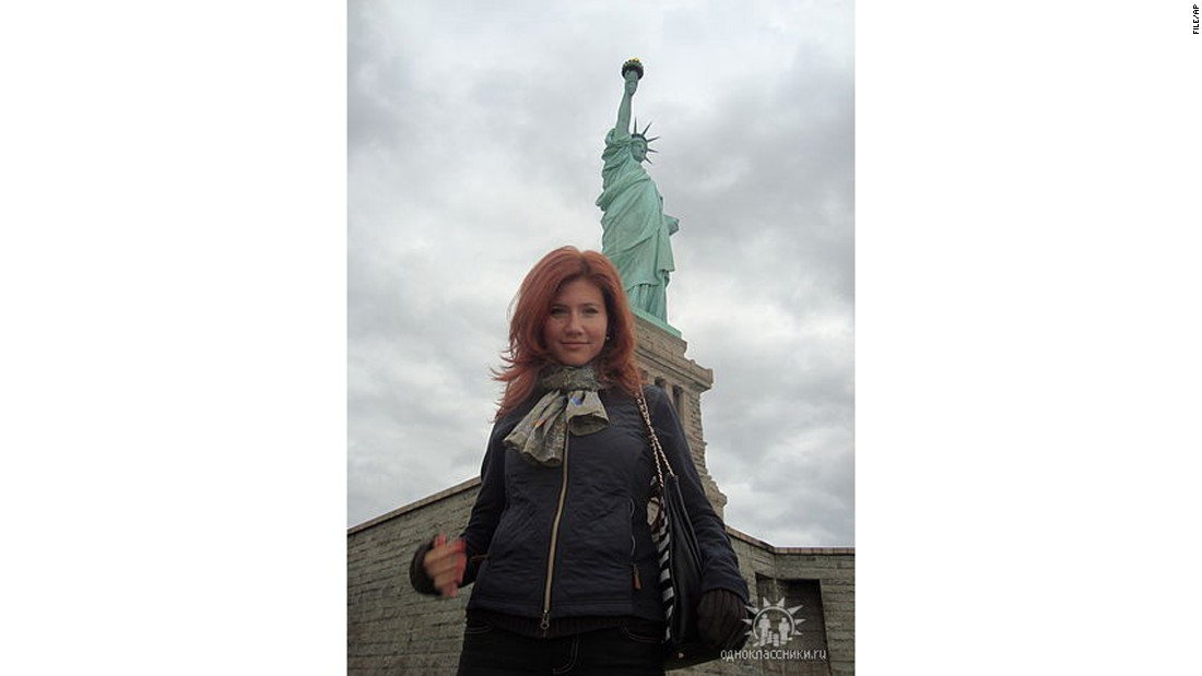 "This undated file image taken from the Russian social networking website ""Odnoklassniki,"" or Classmates, shows Chapman ironically posing in front of New York's Statue of Liberty."