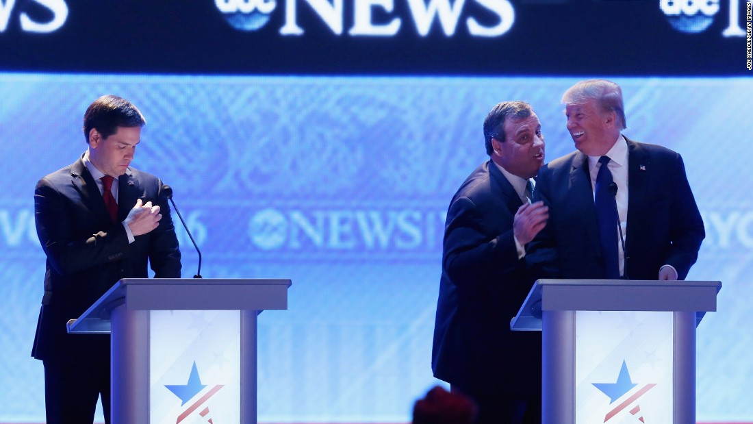 "Christie visits with fellow presidential candidate Donald Trump during a commercial break of a Republican debate in February 2016. From the debate's outset, Christie pestered US Sen. Marco Rubio, left. His relentless attack against Rubio, who was surging in the polls, was one of <a href=""http://www.cnn.com/2016/02/07/politics/republican-debate-takeaways/index.html"" target=""_blank"">the memorable takeaways of the night. </a>"