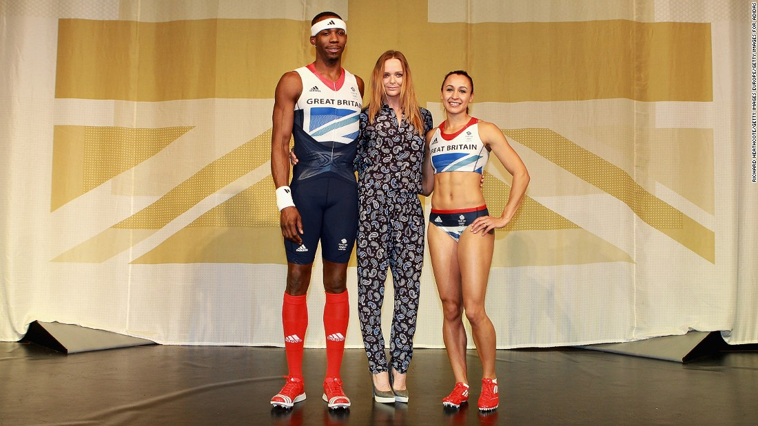 McCartney designed the Olympics clothing for Great Britain at the 2012 and 2016 Summer Games in London and Rio respectively. Here she is at the kit launch for London 2012 with triple jumper Phillips Idowu (left) and heptathlon star Jessica Ennis (right).