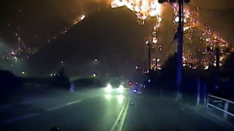 Sevierville dashcam video shows a mountain engulfed in flames near downtown Gatlinburg on November 28.