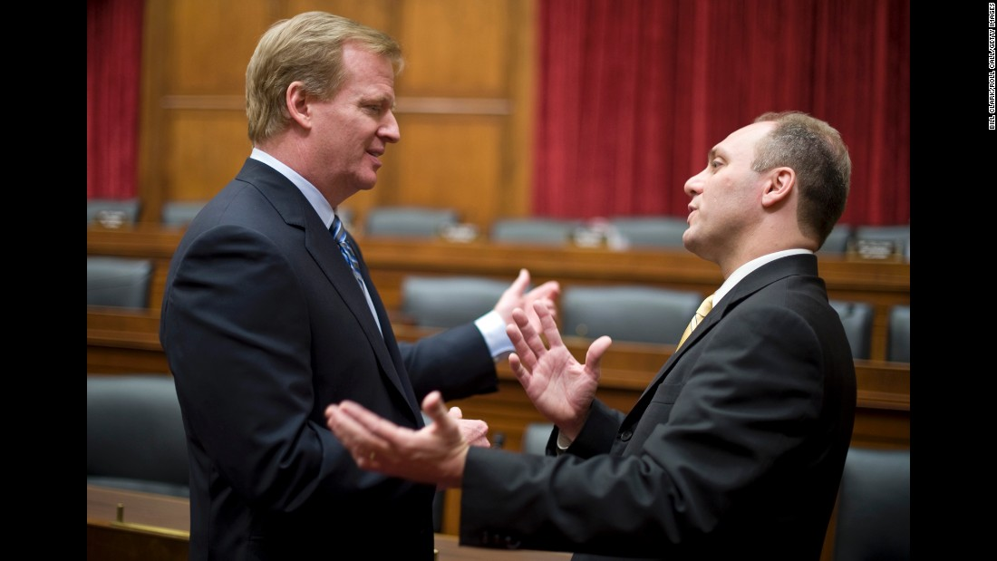 Scalise talks with NFL Commissioner Roger Goodell before the start of a subcommittee hearing in November 2009. Goodell was among those speaking about anti-doping measures in sports.
