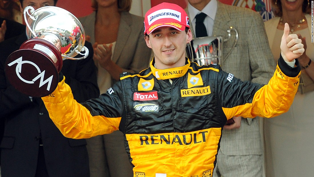 "Kubica celebrates third place at the Monaco Grand Prix in 2010. ""There is no side to him -- he was never political, he just got on with the racing,"" F1 journalist Maurice Hamilton told CNN. ""I think people just warm to him for being a very humble modest guy with massive talent."""