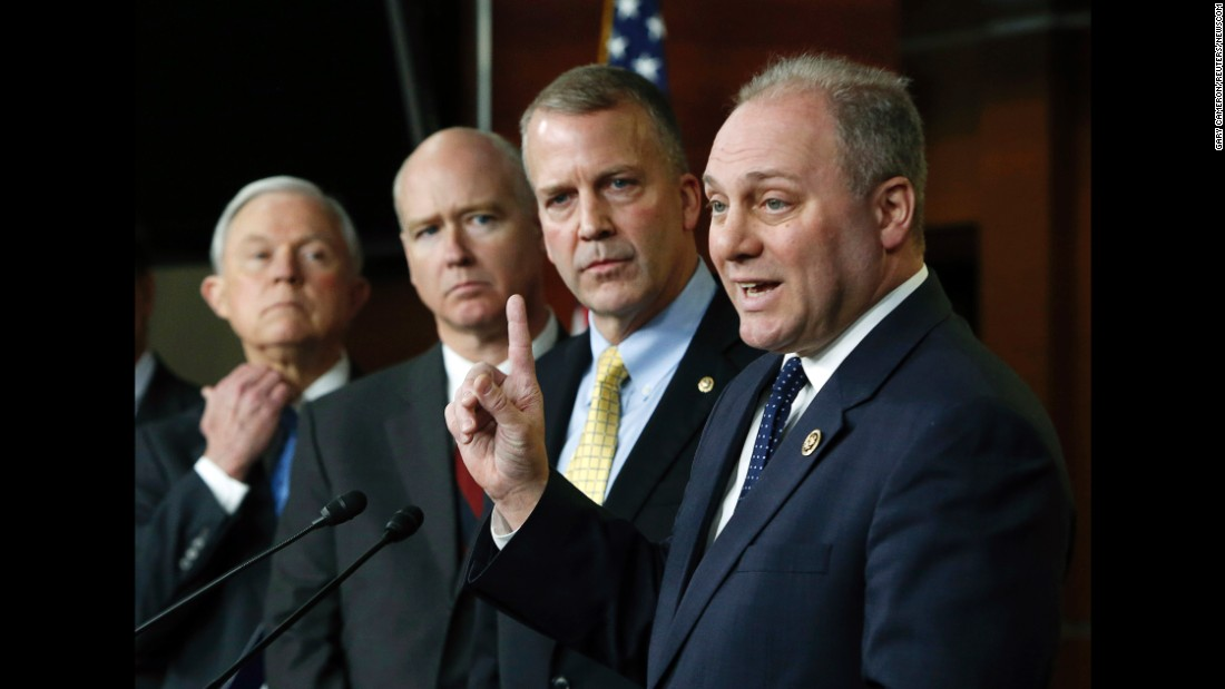 Scalise speaks during a news conference about Homeland Security funding in February 2015.