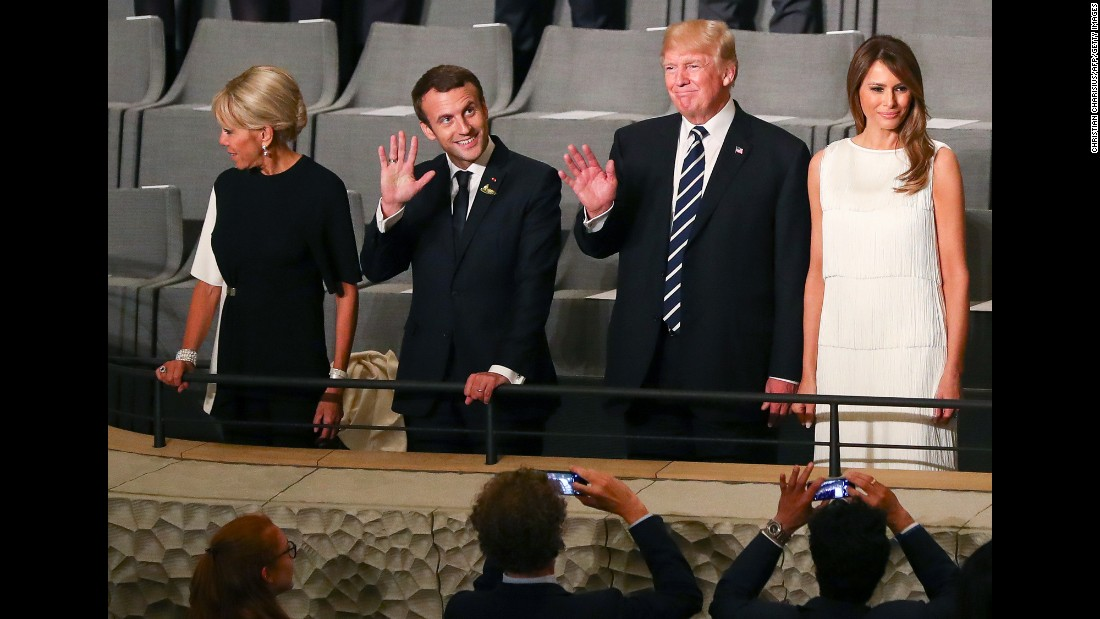 The Trumps join French President Emmanuel Macron and his wife, Brigitte, at the Elbphilharmonie concert hall in Hamburg on July 7.
