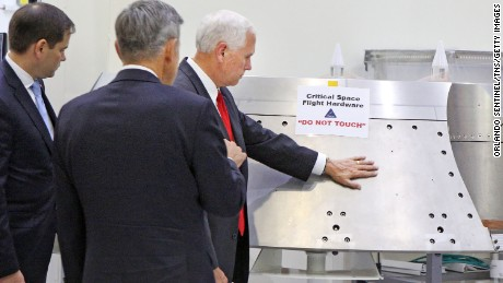 Vice President Mike Pence, right, gets a tour of the Orion clean room with Sen. Marco Rubio, left, by Bob Cabana, Director Kennedy Space Center, center,  Thursday, July 6, 2017.  (Red Huber/Orlando Sentinel/TNS via Getty Images)