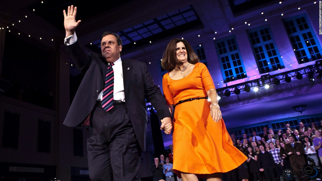 Christie waves to supporters after winning a second term as governor in November 2013. He defeated his Democratic opponent, Barbara Buono, by more than 20 percentage points.