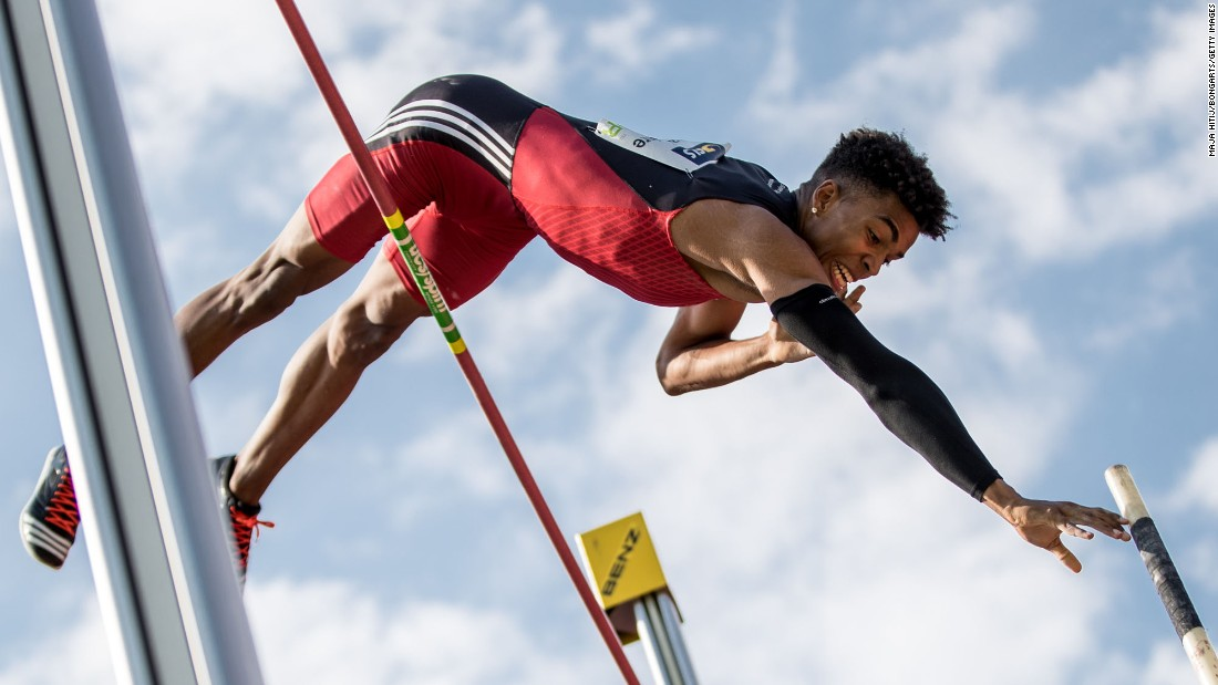 Bo Kanda Lita Baehre competes in the pole vault at the German Championships on Sunday, July 9. He finished in first place.