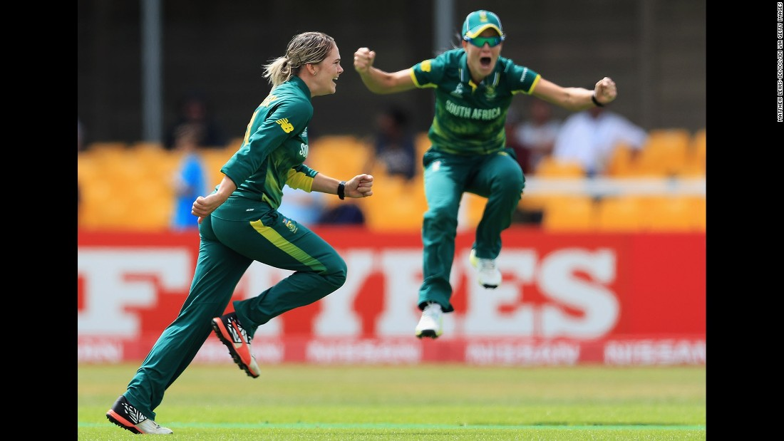 South African cricketer Dane van Niekerk, left, celebrates during a Women's World Cup victory over India on Saturday, July 8. The tournament is taking place in England through July 23.