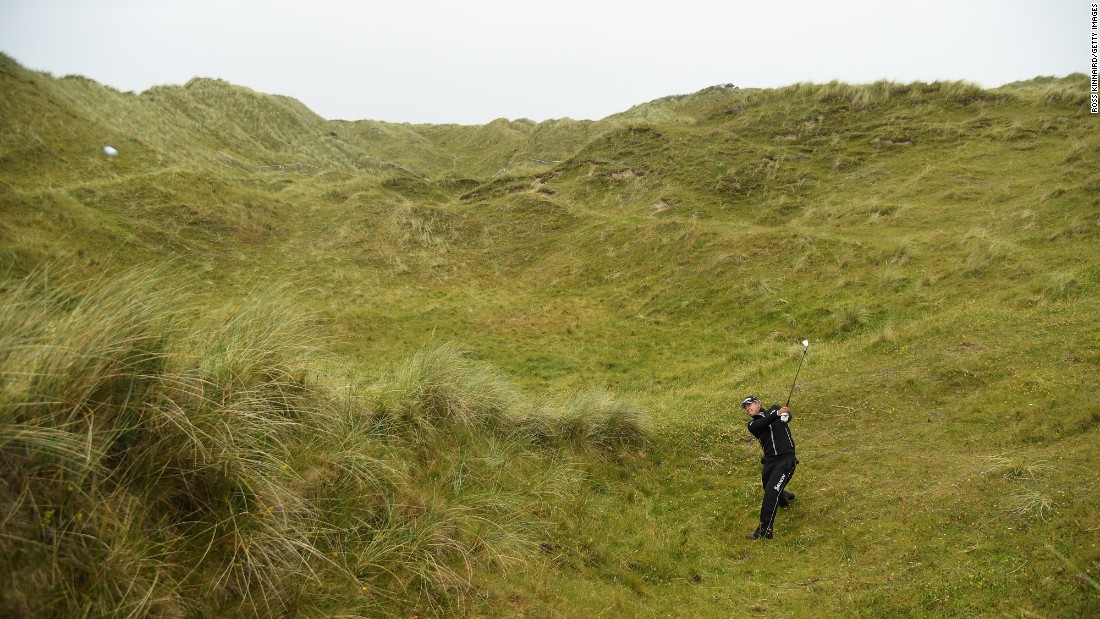 Hideki Matsuyama plays his second shot on a par-5 during the second round of the Irish Open, which took place in Londonderry, Northern Ireland, on Friday, July 7.