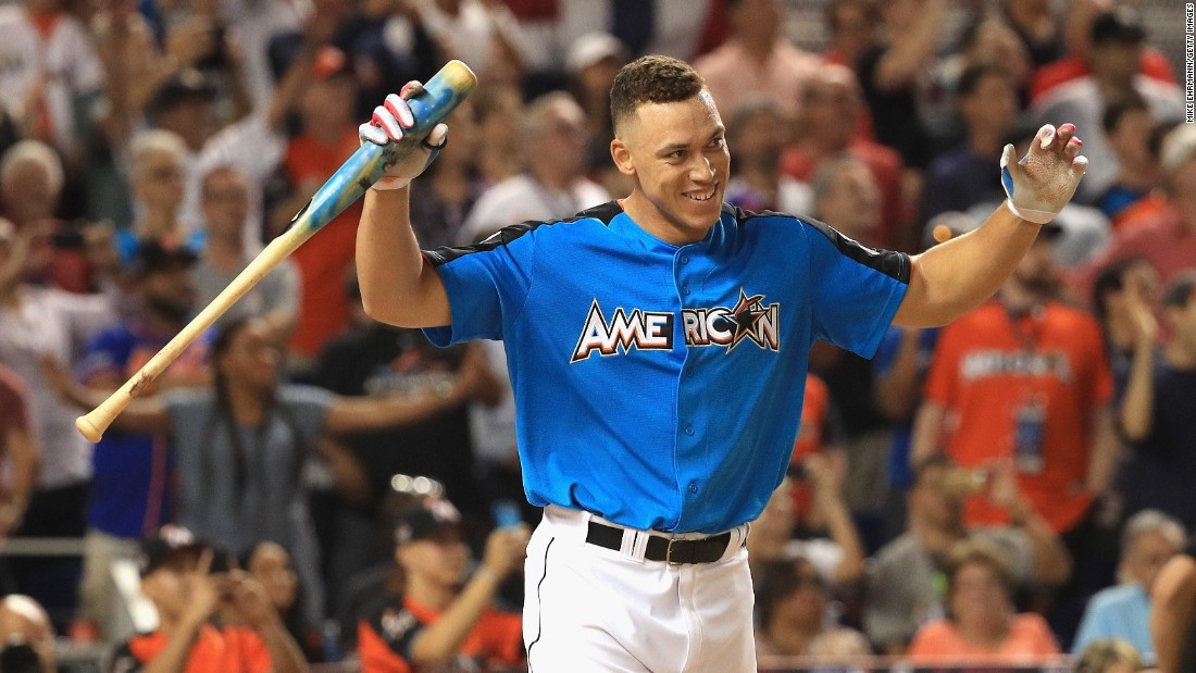 New York Yankees outfielder Aaron Judge celebrates after winning Major League Baseball's Home Run Derby, which took place Monday, July 10, in Miami. The rookie phenom, who leads the majors in home runs this season, defeated Miguel Sano in the final.