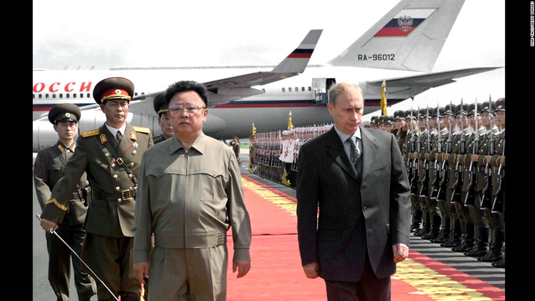 Putin is welcomed by North Korean leader Kim Jong Il after arriving in Pyongyang in July 2000. Russia is one of the few countries that have diplomatic relations with North Korea.