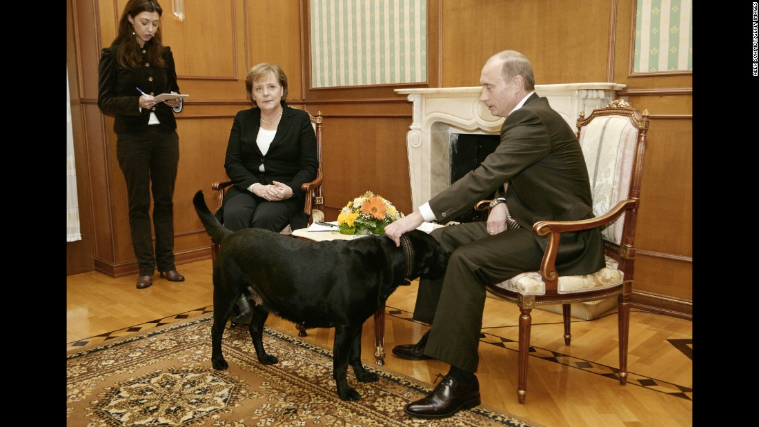 "Putin pets his dog Kuni as he addresses journalists with German Chancellor Angela Merkel in January 2007. Merkel, reportedly fearful of dogs since one attacked her in 1995, was photographed looking distinctly uncomfortable when Putin brought his large black Labrador into the meeting in Sochi, Russia. Years later, <a href=""http://www.cnn.com/2016/01/12/europe/putin-merkel-scared-dog/index.html"" target=""_blank"">he told the German newspaper Bild</a> he had no intention of intimidating Merkel. ""When I found out that she doesn't like dogs, of course I apologized,"" he said."