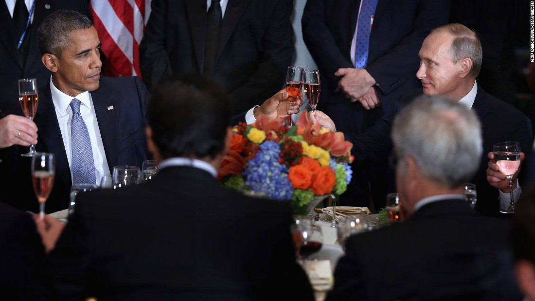 "US President Barack Obama shares a toast with Putin at a luncheon in New York hosted by UN Secretary-General Ban Ki-moon in September 2015. ""Amid the inevitable trials and setbacks, may we never relax in our pursuit of progress and may we never abandon the pursuit of peace,"" Obama said before clinking glasses. ""Cheers."" The two, bitterly at odds over issues in Ukraine and Syria, <a href=""http://www.cnn.com/2015/09/28/politics/obama-putin-meeting-syria-ukraine/"" target=""_blank"">had a closed-door meeting</a> later in the day."