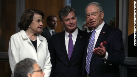 FBI director nominee Christopher Wray (C) speaks with Senate Judiciary Committee Chairman U.S. Sen. Chuck Grassley (R-IA) (R) and U.S. Sen. Dianne Feinstein (D-CA) ahead of  his confirmation hearing before the Senate Judiciary Committee July 12, 2017 on Capitol Hill in Washington, DC.  (Alex Wong/Getty Images)