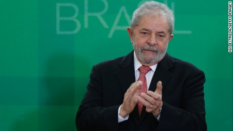 Brazil's former president, Luiz Inacio Lula da Silva, is sworn in as the new chief of staff for embattled President Dilma Rousseff on March 17, 2016 in Brasilia, Brazil. His controversial cabinet appointment comes in the wake of a massive corruption scandal and economic recession in Brazil.