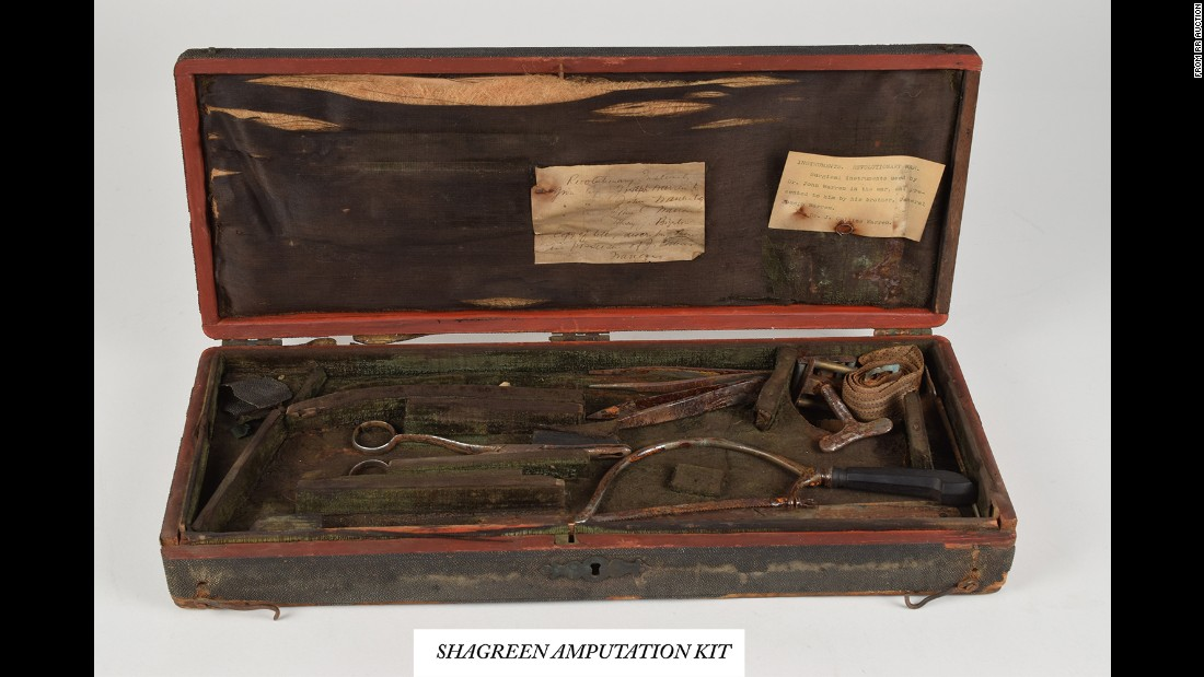 One of Warren's kits was bound in shark or ray skin and contained tools such as a pair of small bullet forceps and a blade for an amputation saw.